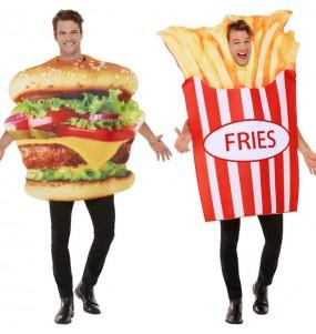 O casal Hambúrguer e Batatas Fritas original e engraçado para se disfraçar com o seu parceiro