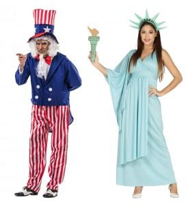 O casal Tio Sam e Estátua da Liberdade original e engraçado para se disfraçar com o seu parceiro