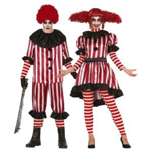 O casal palhaços Horror original e engraçado para se disfraçar com o seu parceiro