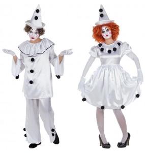 O casal palhaços Pierrot original e engraçado para se disfraçar com o seu parceiro