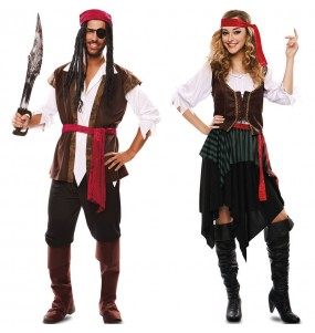 O casal Reis piratas original e engraçado para se disfraçar com o seu parceiro