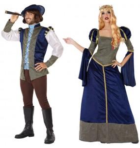 O casal Príncipes Azuis Medievais original e engraçado para se disfraçar com o seu parceiro