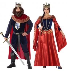 O casal Príncipes medievais vermelhos original e engraçado para se disfraçar com o seu parceiro