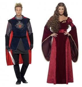 O casal Reis medievais vermelhos original e engraçado para se disfraçar com o seu parceiro