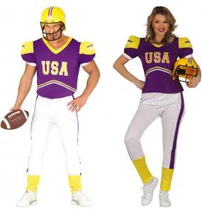 O casal Jogadores de rugby púrpuras original e engraçado para se disfraçar com o seu parceiro