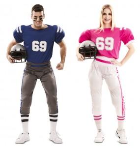 O casal Jogadores de rugby original e engraçado para se disfraçar com o seu parceiro