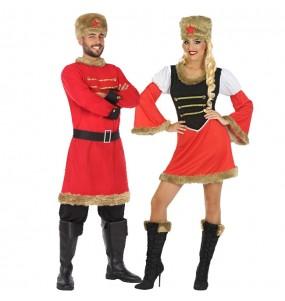 O casal russo vermelho original e engraçado para se disfraçar com o seu parceiro