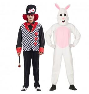 O casal Chapeleiro louco e Coelho branco original e engraçado para se disfraçar com o seu parceiro