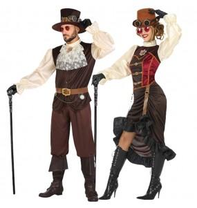 O casal vitoriano steampunk original e engraçado para se disfraçar com o seu parceiro