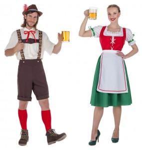 O casal Tiroleses Oktoberfest original e engraçado para se disfraçar com o seu parceiro