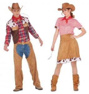 O casal Cowboy americanos original e engraçado para se disfraçar com o seu parceiro