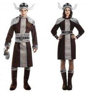 O casal Vikings selvagens original e engraçado para se disfraçar com o seu parceiro