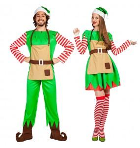 O casal duendes de Natal original e engraçado para se disfraçar com o seu parceiro