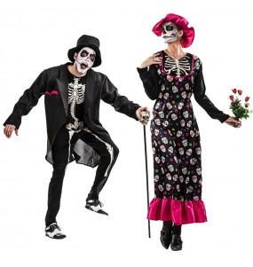 O casal Esqueletos Catrina original e engraçado para se disfraçar com o seu parceiro