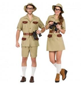 O casal exploradores da selva original e engraçado para se disfraçar com o seu parceiro