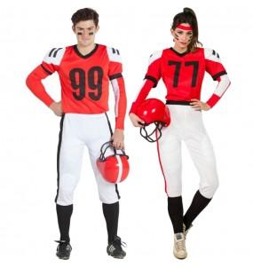 O casal futebol americano vermelhos original e engraçado para se disfraçar com o seu parceiro