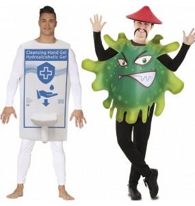 O casal Gel Hidroalcoólico e Coronavírus original e engraçado para se disfraçar com o seu parceiro