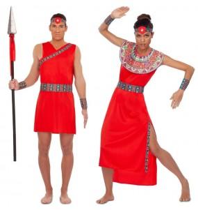 O casal Guerreiros Masai original e engraçado para se disfraçar com o seu parceiro