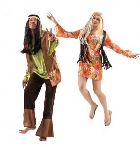 O casal Hippies oitenta original e engraçado para se disfraçar com o seu parceiro