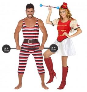 O casal Forçudo Circo e Majorette original e engraçado para se disfraçar com o seu parceiro