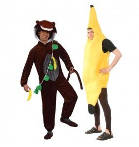 O casal Macaco e banana original e engraçado para se disfraçar com o seu parceiro
