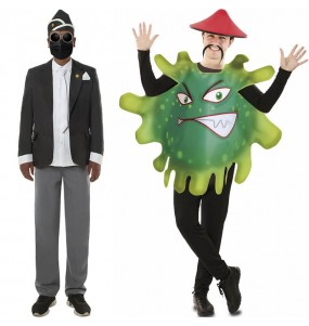 O casal Negro do Caixão e Coronavírus original e engraçado para se disfraçar com o seu parceiro