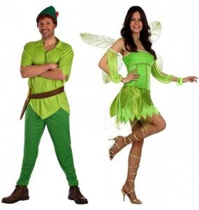 O casal Peter Pan e Fada Sininho original e engraçado para se disfraçar com o seu parceiro