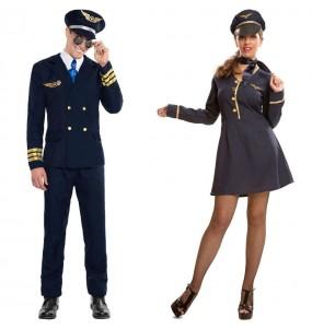 O casal Piloto Aéreo e Hospedeira de bordo original e engraçado para se disfraçar com o seu parceiro