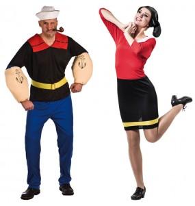 O casal Popeye e Olivia original e engraçado para se disfraçar com o seu parceiro