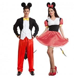 O casal ratos Mickey e Minnie Mouse original e engraçado para se disfraçar com o seu parceiro