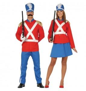 O casal soldadinhos chumbo original e engraçado para se disfraçar com o seu parceiro