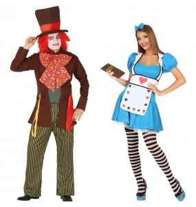 O casal Chapeleiro Maluco e Alice no País das Maravilhas original e engraçado para se disfraçar com o seu parceiro