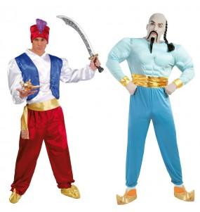 O casal Aladdin e Génio da lâmpada original e engraçado para se disfraçar com o seu parceiro