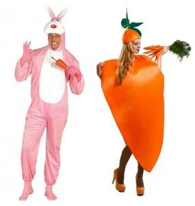 O casal Coelho e Cenoura original e engraçado para se disfraçar com o seu parceiro