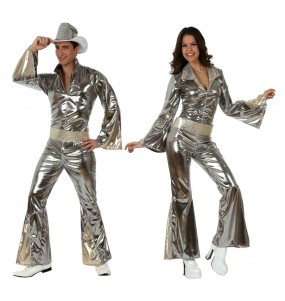O casal Disco prata original e engraçado para se disfraçar com o seu parceiro