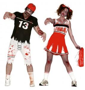 O casal Futebol americano zombies original e engraçado para se disfraçar com o seu parceiro