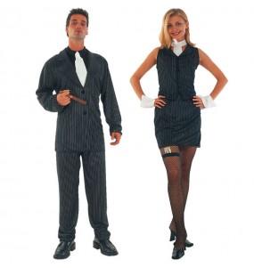 O casal Gangsters pretos original e engraçado para se disfraçar com o seu parceiro