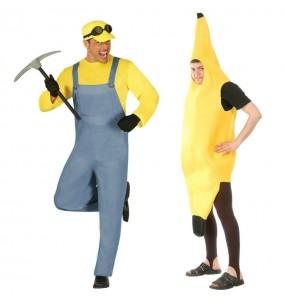 O casal Minion e Banana original e engraçado para se disfraçar com o seu parceiro
