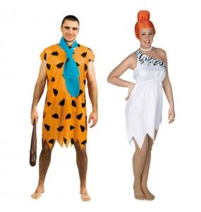 O casal Trogloditas Fred e Wilma Flintstones original e engraçado para se disfraçar com o seu parceiro
