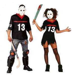 O casal Jason Sexta-feira 13 original e engraçado para se disfraçar com o seu parceiro