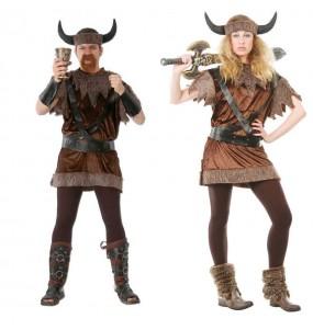 O casal Vikings bárbaros original e engraçado para se disfraçar com o seu parceiro