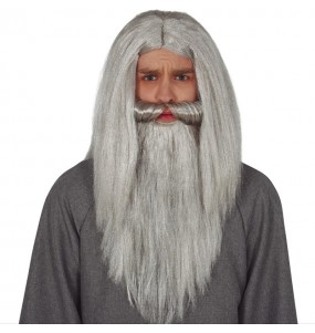 Peruca Feiticeiro com barba cinzenta