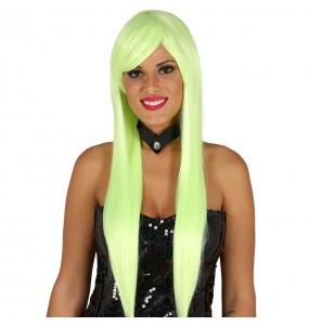 A Peruca crina lisa verde mais engraçada para festas de fantasia
