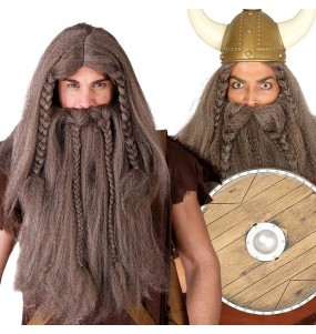A Peruca Viking com barba mais engraçada para festas de fantasia