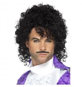 A Peruca cantor Prince com bigode mais engraçada para festas de fantasia