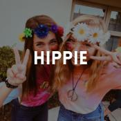 Catálogo de fatos hippies para rapazes, raparigas, homens e mulheres