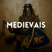 Catálogo de fatos medievais para rapazes, raparigas, homens e mulheres