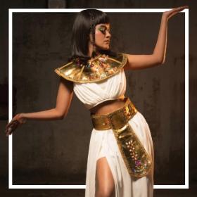 Comprar online os fatos faraós e Cleópatra mais originais para adultos e crianças