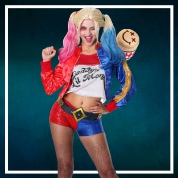 Loja online de roupas de Halloween de Harley Quinn para mulher