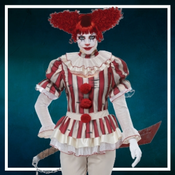Loja online de roupas de Halloween de palhaça assassina para mulher